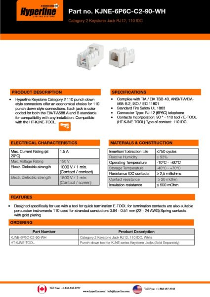 Hyperline | Hyperline KJNE-6P6C-C2-90-WH - Hyperline